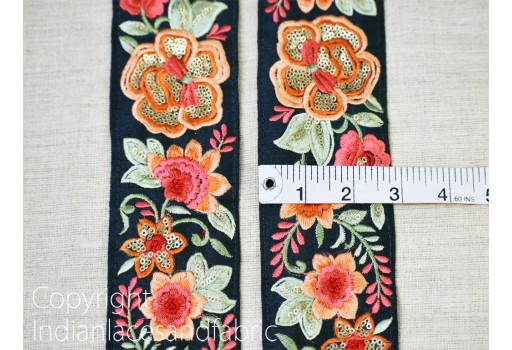 9 Yard Wholesale Floral Dark Navy blue Silk Embroidery Trims For gown Dress Decorative Indian saree Border Sewing Clothing Fabric Crafting Trimmings Embroidered Christmas trim accessories Cushion Table cover tape