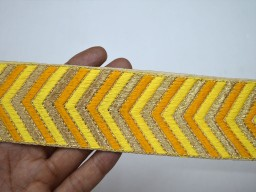 Yellow decorative embroidery crafting sewing fashion tape trim by 4 yard extremely beautiful embellishments designer handmade fancy stylish machine stitched ribbon for skirts