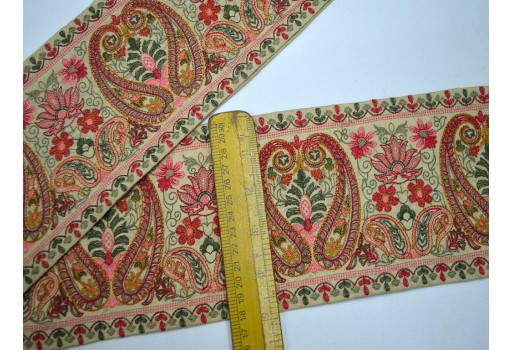 5 inch fancy wholesale baby pink and mustard yellow embroidery trim by the yard decorative embellishments sewing crafting ribbon christmas supplies home decor costume laces for curtains