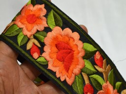 Fabric Embellishments Silk Sari Border Fabric Trim By The Yard In Peach Orange Green Embroidered Fabric Border For Dresses