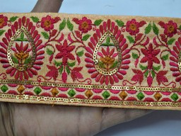 Wholesale peach decorative sari border purses trim by 9 yard crafting sewing embroidery ribbon crazy quilting home decor lace clothing trimmings for designing stylish blouses