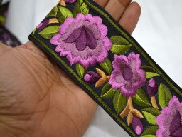 Lavender and Green Embroidered Trims on Black