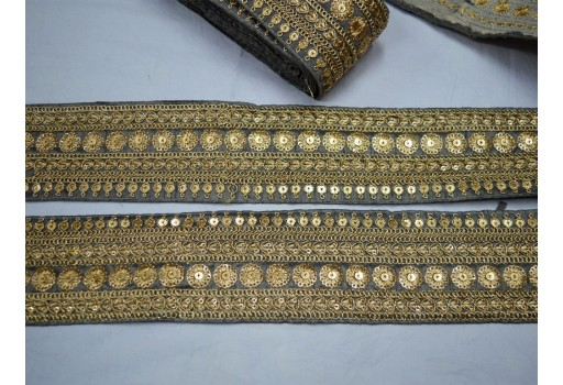 Decorative sari border by the yard saree embroidered ribbon sewing fabric trim crafting embroidery trimmings costumes designer lace grey and gold dupioni silk fabric with sequence work wedding wear and dresses