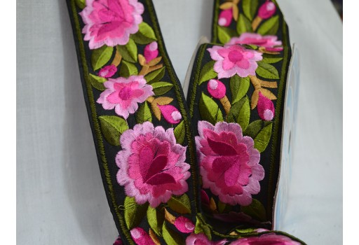 Pink Fabric trims and embellishments  Embroidered Border