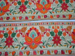 Orange coral red green mint green yellow saree ribbon fabric trim embellishment embroidered indian trim by the yard silk sari border decorative sewing crafting trimmings for making curtains covers