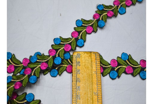 Decorative green sewing saree fabric trim by 4 yard crafting ribbon sari border embroidered trimmings sewing accessories festive wear for lehengas costume  boutique material cut work lace