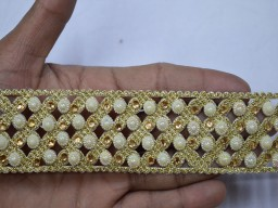 Gold kundan laces sari border by the 2 Yard decorative glass beaded metallic embellishment saree ribbon costumes sewing crafting mirror and faux pearls stone work decorative trim