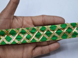 Wholesale green traditional rajasthani gota pati trim by 9 yard sari border metallic decorative gift wrap sewing and craft projects christmas supplies home décor lace wedding dresses bohemian ethnic wear tunics