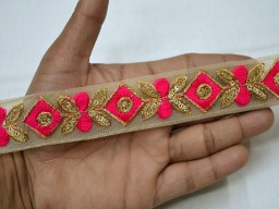 2 Yard Indian Laces Festive wear dresses Trims for kurtis Saree Border Hot Pink embellishments Decorative Embroidered Sari Borders Crafting Sewing ribbon garment clothing costume Trimmings