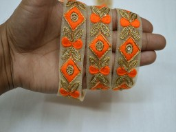 Sewing clothing accessories trim by 2 yard orange embellishments on net fabric ribbon decorative embroidered crafting home decor beautiful border for dresses trimmings