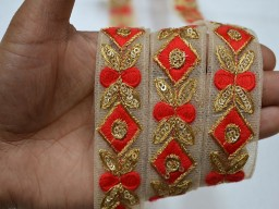 Beautiful stunning embroidered designer trim by 2 yard red sari border on net fabric ribbon embellishments crafting sewing trimmings decorative for bridal dresses