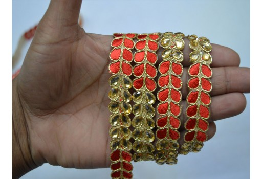 Decorative red gold kundan trim by 4 yard wedding dresses border sewing crafting glass beaded lace embellishment designer home decoration ribbon costumes fashion tape trimmings