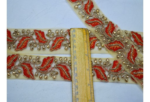 Red decorative dresses border net trim by 4 yard crafting fashion lace embroidered trimming embroidery sewing costume ribbon beautiful leaf pattern embellishments trimmings