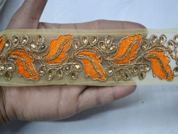 Decorative trim by 4 yard Orange embroidery designer dresses border scrap booking crazy quilting laces net fabric trimmings decorated stone work ribbon crafting sewing clothing accessories