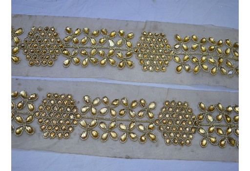 Traditional gold kundan lace embellishment crafting sewing metallic beaded glass stone work border scrap booking home decor trim by 2 yard christmas supplies borders for gift wrapping