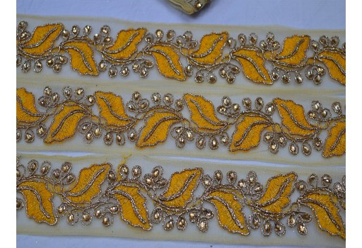 Beautiful stunning  boutique material trim by 4 yard yellow embroidered designer laces stone work net fabric embroidery fashion blogger trimmings decorative crafting sewing tape trimmings