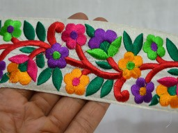 Embroidered Trim border in Multicolor Trim By The Yard