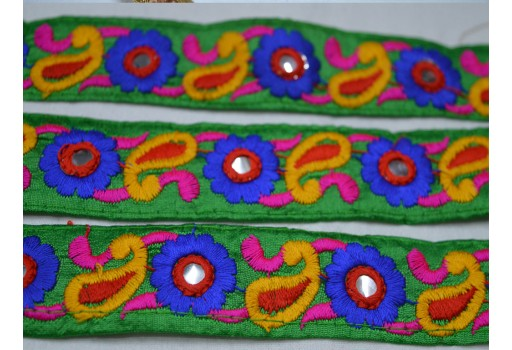 Blue embroidered ribbon sewing decorative fabric trim by 2 yard beautiful green silk with sequins work ribbon decorated beautiful stylish lace for bridal clutches embroidery trims
