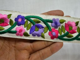 Embroidered designer purple and forest green on off white fabric wholesale floral trim by 9 yard tape and laces fancy trimming embellishments decorative embroidery clothing accessories