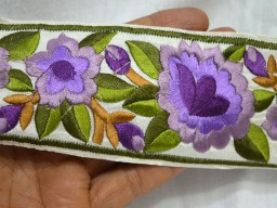Decorative Trims Embroidered Trim Orchid and Green