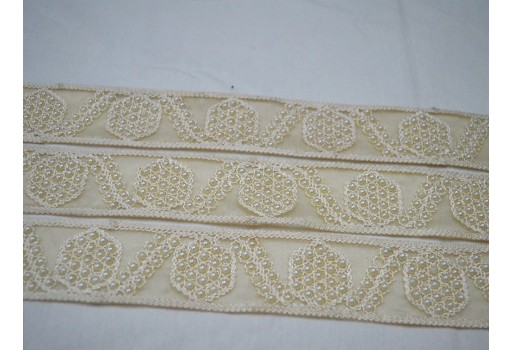 Ivory decorative embroidered lace table decoration ribbon sewing trims sari border beaded trim by the yard embellishments crafting Christmas supplies trimmings for dresses