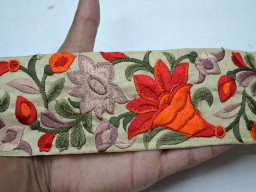Orange embroidered designer trims on beige silk fabric trim by the yard decorative crafting sewing border costume fashion tape ribbon crafting ribbon for designing stylish bag and purses