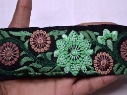 Green embroidered sewing black fabric border decorative costume designer embroidery sari trim by the yard crafting sewing trimming for bridal clutches