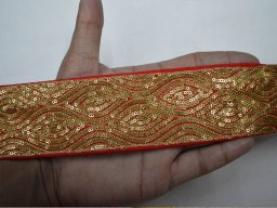Gold sequins tape red decorated fancy dresses border scrap booking crazy quilting home decor wholesale trim by 9 yard beautiful stunning ribbon embroidery trimmings for designing stylish wedding wears