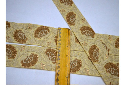 Beige embroidered beige silk fabric ribbon embellishment wedding designer trim by the yard home decoration decorative floral pattern embroidery border for fancy dress
