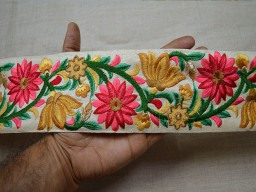 Wholesale home decoration carfting sewing and fashion tape ribbon coral indian silk fabric trim by 9 yard sari border embroidery ribbon floral christmas trimming