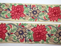 Rosewood embroidered indian fabric trims by the yard beautiful fancy designing border decorative designer embroidery crafting sewing ribbon embellishment laces for beach bags trimmings