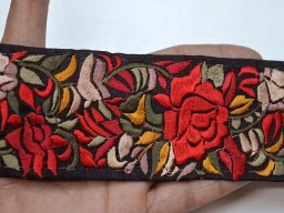 Beautiful stunning embroidered designer trim by the yard decorative silk fabric border red maroon table decoration fancy dresses ribbon embellishment crafting sewing cushion cover clothing accessories