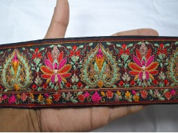 Boutique material red crafting embroidered sewing fabric trim by the yard decorative indian thread work border trimming clothing accessories beach bags ribbon fashion blogger border