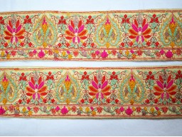 Beautiful stunning extremely magenta crafting ribbon embroidered sewing fabric trim by the yard decorative indian sari border lehnga making accessories hat trimmings bridal clutches embroidery laces