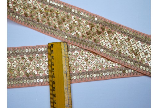 Costume designer fashion blogger salmon pink indian sari border by 9 yard decorative trims silk dresses embroidered dress ribbon sewing sequins crafting thread work trimming