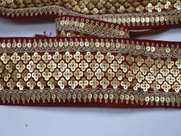 Beautful trims embroidered embellishment trimmings ribbon indian sari border maroon saree fabric trim by the yard gold indian crafting sewing sequins lace