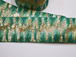 Boutique material  clothing accessories sea green embellishment trim by the yard embroidered christmas trimming indian sari border gold indian crafting sewing sequins border tape