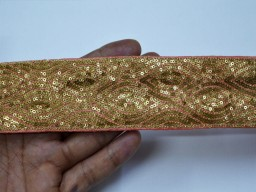Embroidered silk fabric trim by 9 yard embroidery designer laces sari border sewing India costume clothing accessories Decorative thread and sequins work tape wholesale Coral Pink trimming