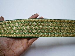 Decorative green embroidered saree silk fabric trim by the yard trimmings indian sequins laces and ribbon indian clothing accessories floral table runner and hat making border