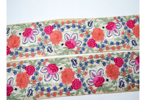 Décor gown beautiful tape stylish borders floral Indian fabric embroidered costume trimmings decorative sari border trim by 9 yard fashion tape crafting sewing garments ribbon