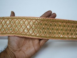 Exclusive latest border peach and gold zari fabric trim by the yard embroidered sequined embellishment trimming lehnga ribbon indian crafting sewing sequins border