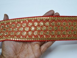 Red wedding lehnga trim by the yard embroidered sequined embellishment trimming ribbon sari border indian crafting sewing sequin border home décor christmas supplies