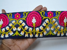 Embroidered trims for women dress blue decorative embellishment fabric trim by yard sari border indian embroidery saree lace yellow crafting sewing costume ribbon
