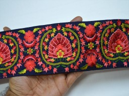 Beautiful trim stylish borders navy blue saree border sewing indian fabric laces embroidered costume trimmings fashion crafting clothing decorative sari trim by the yard fashion tape