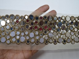 Wholesale decorative costume antique copper border mirror work trim by 9 yard wedding dress ribbon gown accessories bridal belt Indian laces lehnga making tape festival suit trimmings