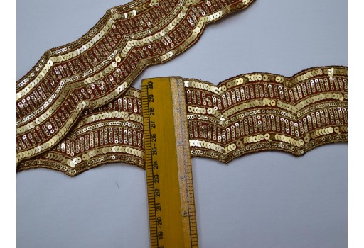 Embroidered embellishment trimmings ribbon Indian saree fabric trim by 9 yard gold crafting sewing wholesale beautiful tape stylish borders maroon sequins lace