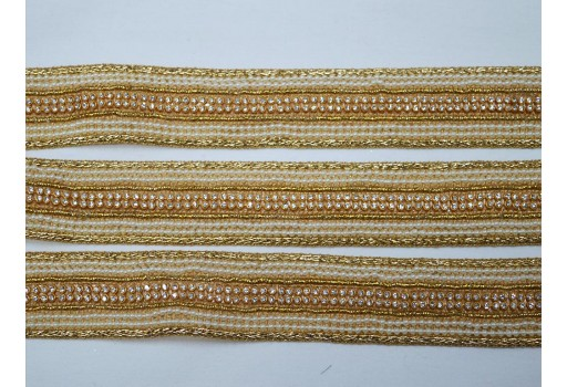 Beautiful trim stylish borders beaded trim by 2 yard ribbion sari border sewing supply indian crafting decorative gold kundan costume saree laces embellishment trimmings