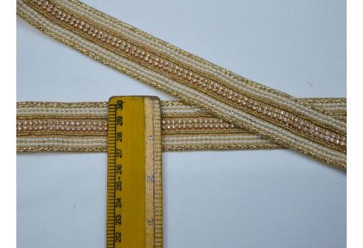 Beautiful trim stylish borders beaded trim by 2 yard ribbion sari border sewing supply indian crafting decorative gold kundan costume saree laces embellishment trimmings