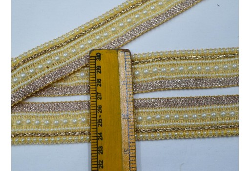Beaded trim by 9 yard sari border sewing Indian crafting decorative dull gold kundan costume laces embellishment Christmas trimmings décor ribbon stylish tape