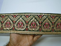 Glamorous floral decorative trim bottle green saree fabric trim by the yard embroidered embellishment trimmings ribbon indian sari border gold crafting sewing sequins border